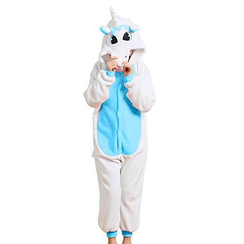 LPATTERN Cosplay Disfraz Pijamas Animales Carnaval Fiestas Partidos Franela Niños Unisex Niñas Unicornio Azul L