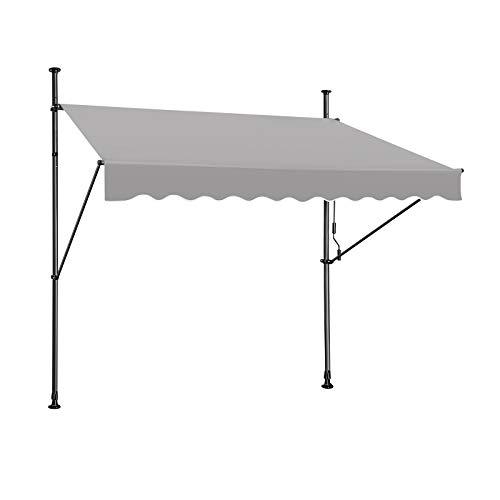 HENGMEI Markise Einziehbar Klemmmarkise Balkonmarkise Sonnenschutz ohne Bohren höhenverstellbar (150 x 120 cm, Grau)
