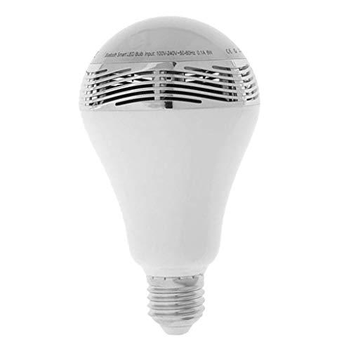 B Blesiya Bombilla LED con altavoz Bluetooth E27, regulable, controlable mediante aplicación, color blanco