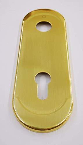 Mostrina CILINDRO EUROPEO colore ottone oro lucido-placca per porta blindata-borchia ATRA-DIERRE(mm.h.182x62).Bocchetta Compatibile con altre marche di serrature