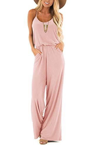 Womens Casual Loose V Neck Sleeveless Spaghetti Strap Wide Leg Pants Romper Jumpsuits Blush Small