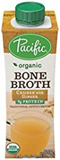 Organic Bone Broth, Chicken with Ginger by Pacific Foods, 8oz Cartons, 12-Pack