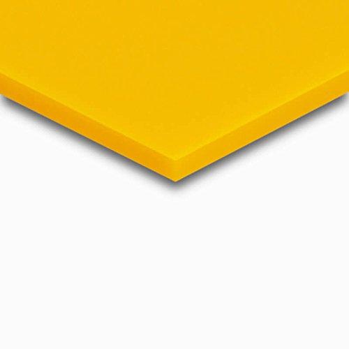 3 mm PLEXIGLAS® gelb GS 1H01 GT, farbiges Acrylglas mit einer Lichtdurchlässigkeit von 22%, zur Dekoration und Präsentation, Maße: 50x50x0,3 cm