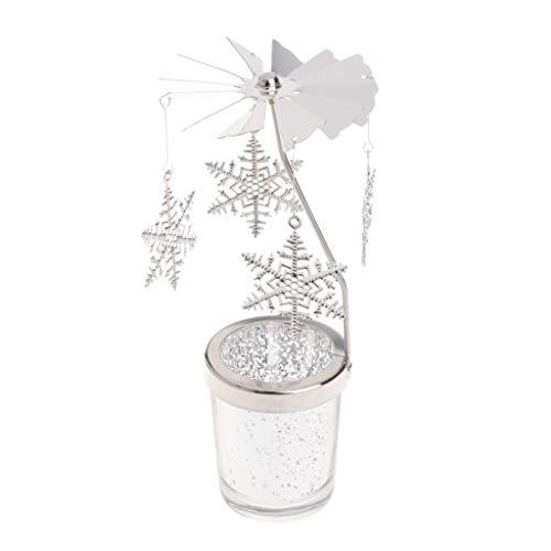 lyqdxd - Portacandela natalizio in metallo per tealight, ideale per decorazioni natalizie, movimento rotatorio effetto giostra, decorazione per interni, ferro/vetro., argento, 01