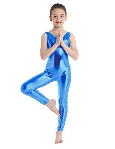 inlzdz Kinder Mädchen ärmellos glänzend Metallic Gymnastik Ballett Tanz-Tanzanzug Einteiler Overall Catsuit Kostüme Blau 11-12 Jahre