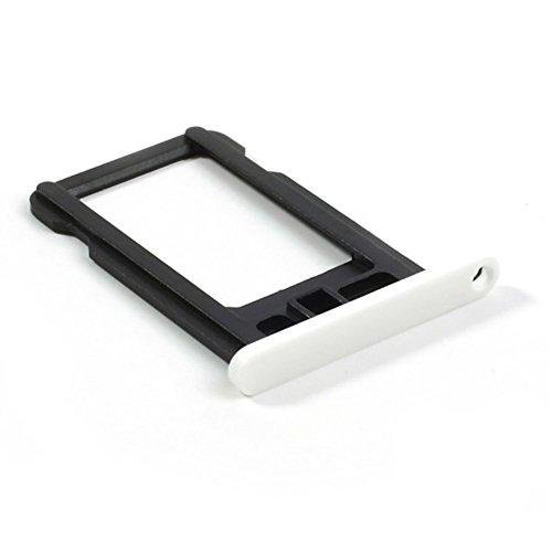 jbTec SIM-Tray/Halter passend für Apple iPhone 5c - Slot Karte Schlitten Rahmen Holder Handy Card Ersatz Fach Ersatzteil, Farbe:Weiß