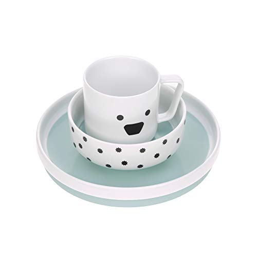LÄSSIG Geschirrset Porzellan Kindergeschirrset Teller Schüssel Tasse mit Silikonring rutschfest Kindergeschirr/ Little Chums Dog blau