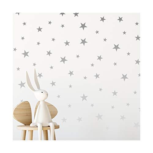 StickerDeen | Pegatinas de estrella de plata para guardería, decoración extraíble Peel & Stick Wall Art Vinilos de vinilo | (166 unidades)