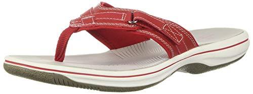 Clarks Women's Breeze Sea Flip Flop, New Red Synthetic, 9 B(M) US