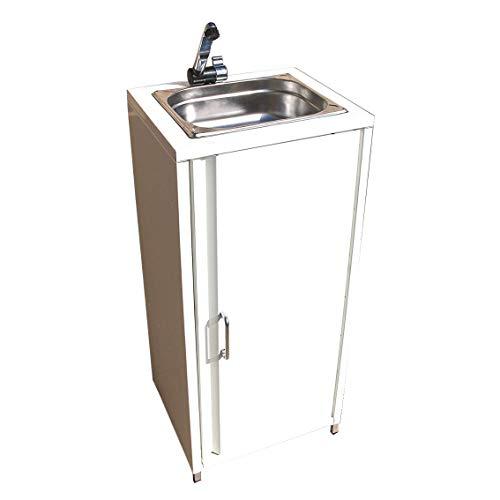TMM Mobiler Spülbecken Waschbecken Spüle Handwaschbecken Weiß inkl. Zubehör/Spülbecken für Verkaufsstand Camping