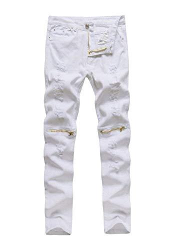 HaiDean Herren Superenge Jeans Enge Jeans Am Verschluss Der Modernas Lässig Knie Hose Neu Clubwear Streetwear Jeanshose Trousers (Color : Weiß, Size : 28)