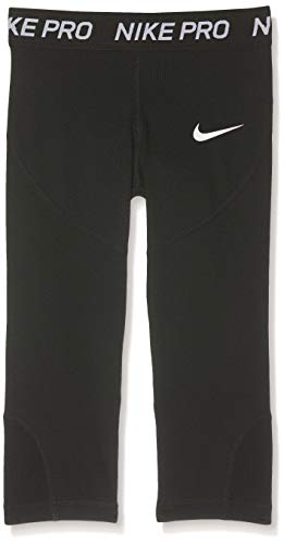 Nike Pro Girls' Training Capri Leggings (Black/White, L)