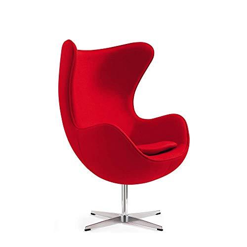 Poltrona a uovo di Vivol - Egg Chair Rosso - Poltroncina camera da letto di design - Poltrona salotto in 3 colori