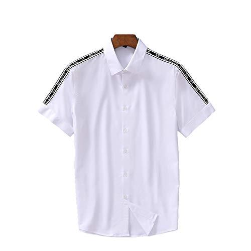 Camisa de Manga Corta con Solapa para Hombre, a la Moda, con Costura de Letras Laterales, Estampado de Verano, Tendencia Fina, Camisa Informal Ajustada, Ropa de Calle L