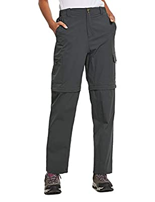 BALEAF Women's Hiking Convertible Cargo Pants Zip-Off Quick Dry Zipper Pockets UPF 50+ Deep Gray M