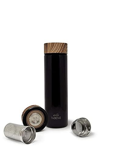 Twonotwo Botella de agua térmica Detox diaria de 450 ml, doble pared, de acero inoxidable, sin BPA, ecológica, reutilizable, filtro grande, té purificador, infusiones 12 h calientes, 24 h frío...