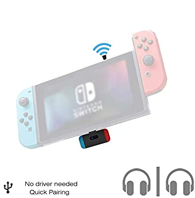 Golvery Bluetooth Adapter for Nintendo Switch & Lite, Low Latency Wireless Audio Transmitter with USB C Connector, Supports in-Game Chat & Dual Link, Compatible with Bose Sony Airpods TWS Headphones from JTKJ