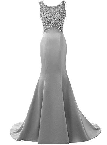 XPF Vestido De Fiesta Largo De Sirena para Mujer Vestidos De Noche con Cuentas Vestido De Novia Dama De Honor (Tamaño Grande),H-6