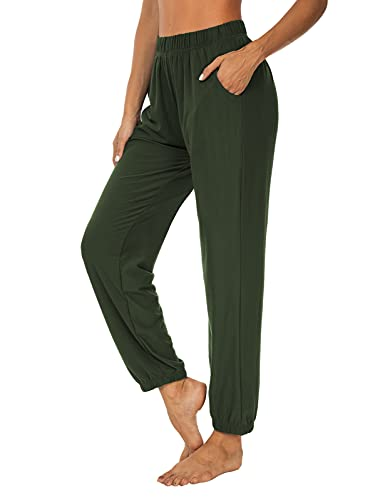 KEEPBEAUTY Womens Active Yoga Sweatpants Loose Workout Joggers Pants Comfy Lounge Pants with Pockets Army Green S