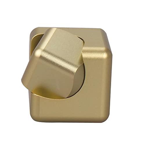 QiKun-Home Aleación de Metal Cuadrado Dedo Giroscopio Cubo Giratorio Descompresión Juguete Juguete Educativo Regalo Cuadrado Mano Spinner Oro