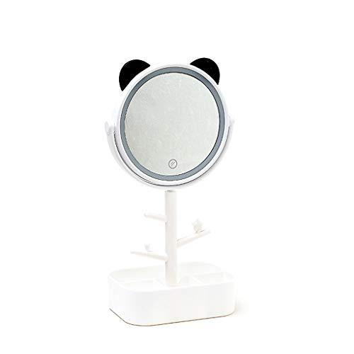 Espejo De Maquillaje Iluminado, Espejo De Tocador De Mesa Plegable E Iluminado por LED con Caja De Almacenamiento - 37x13cm (Color : White)