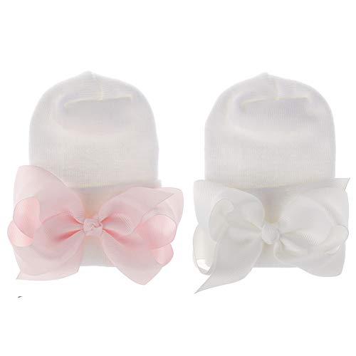 Aijian Newborn Hospital Hat Infant Baby Hat Solid Color Doughnut Hat (2 Pack Bow Ribbon / 0-3 Month, 0-3 Month)