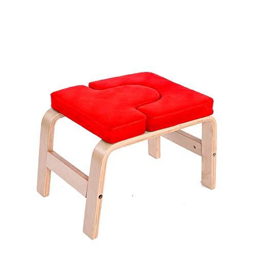 CURVEASSIST Pilates Kopfstand Bank U-förmige-Buche-PU Yoga-Hocker Multifunktionale Hilfs-Inverted-Fitness-Stuhl Bequeme Heimausrüstung Rot,Red-OneSize
