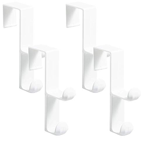 iDesign Over the Door, Organizer Hook for Coats, Hats, Robes, Towels - Double Hook, White, Pack of 4