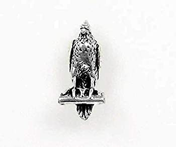 Charm - Sterling Silver - Jewelry - Pendant - Perched Falcon or Sitting Bird
