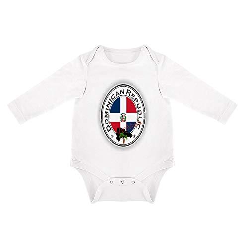 VinMea Body divertido de manga larga con sello de la República Dominicana para recién nacidos (0-3 meses), color blanco