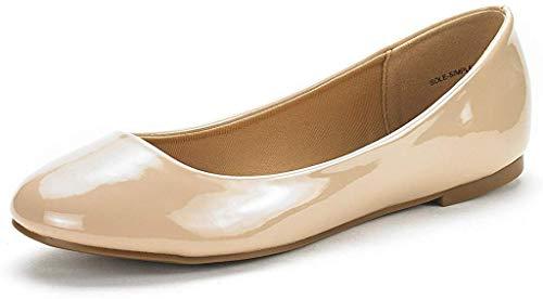 DREAM PAIRS Women's Sole-Simple Nude Pat Ballerina Walking Flats Shoes - 8 M US