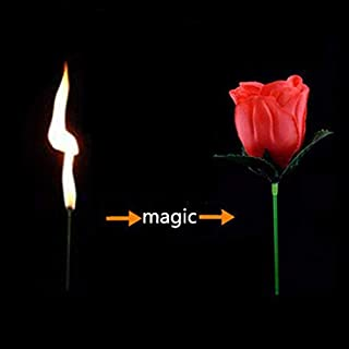 blue-ther Pack of 5pcs Torch to Rose - Fire Magic Trick Flame Appearing Flower Professional Magician bar Illusion Props