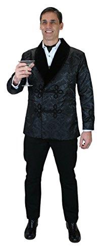 Historical Emporium Men's Vintage Brocade Smoking Jacket 3X Black