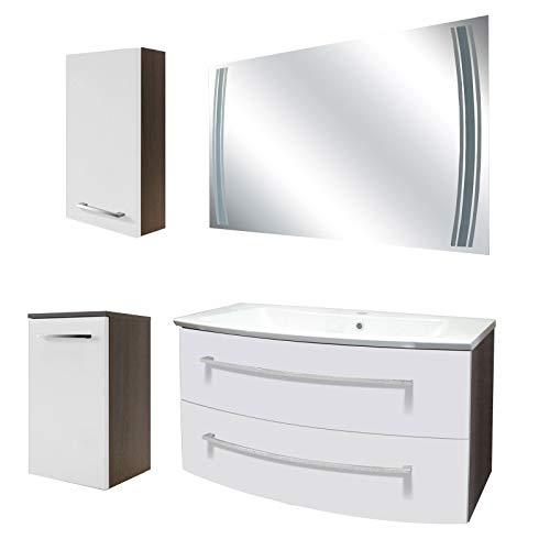 FACKELMANN weisses Badmöbel Set 5-TLG. Rondo mit Waschtisch Unterschrank hängend Gussbecken 100 cm & LED Badspiegel