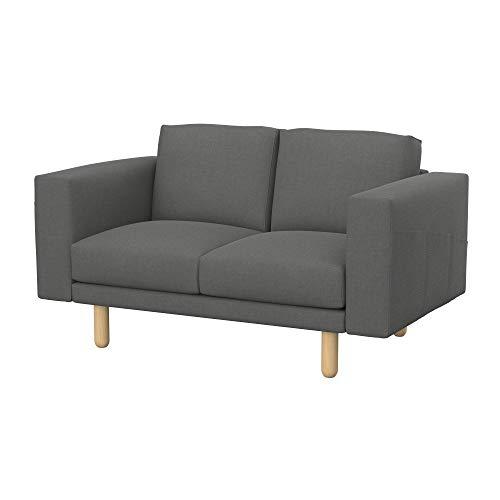 Soferia Funda de Repuesto para IKEA NORSBORG sofá de 2 plazas, Tela Elegance Metal Grey, Gris