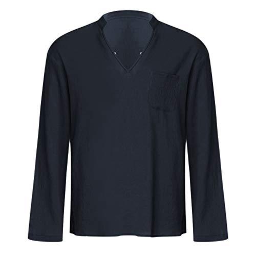 sunnymi – Camiseta para hombre, vintage, transpirable, fino cuello en V, sólida, sin bolsillo en el pecho A Marine L