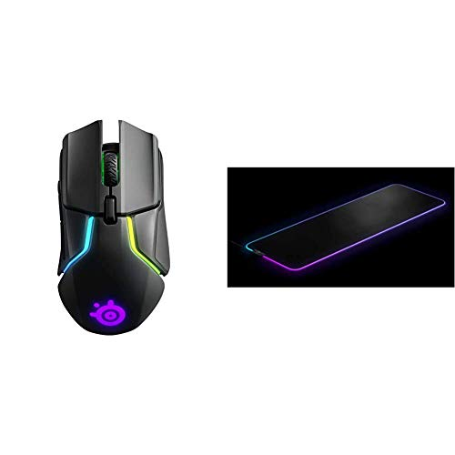 SteelSeries Rival 650 - Quantum Wireless Gaming-Mouse - dualen optischen Sensor - Einstellbarer Lift-Off-Distanz & QcK Prism Cloth - Gaming Mouse Pad – 2 Zonen RGB-Beleuchtung – Größe XL