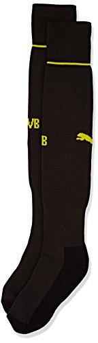 PUMA Erwachsene Socken BVB Socks, schwarz - Black/Cyber Yellow, 39-42 (Herstellergröße: 3)