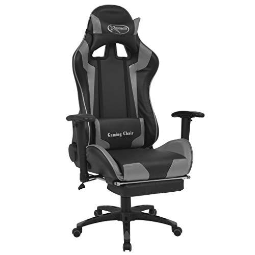 vidaXL Bürostuhl Gaming-Stuhl Neigbar mit Fußstütze Schreibtischstuhl Drehstuhl Racing Sportsitz Chefsessel Bürosessel Gamingstuhl Grau