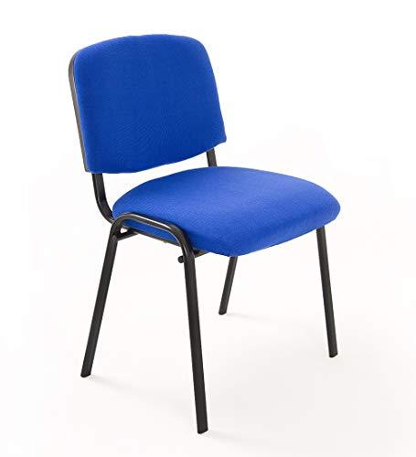 Notek Srl Set di 6 sedie Attesa Ufficio Sala conferenze riunione Meeting ospite impilabili in Tessuto (Blu)
