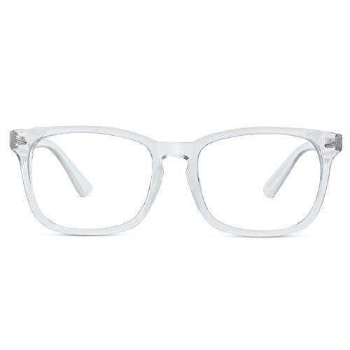 Cyxus Blaulichtfilter Brille, Klare Brille 0hne Stärke【Gesamtbreite: 141mm】UV Schutzbrille gegen Kopfschmerzen, Augenmüdigkeit