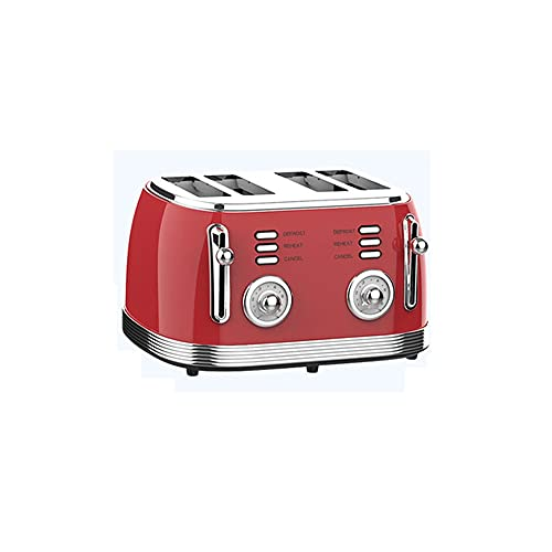 Angled-Large Capacity Retro Toaster 4 Slice Stainless Steel Extra Wide Slots with Defrost Reheat Cancel Function Removable Crumb Tray,6 Brownings Set up,Independent Control Panels(red) High Safety pe