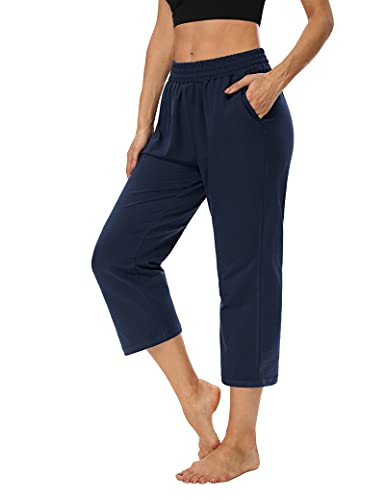 ZJCT Womens Capri Pants Loose Comfy Elastic Waist Lounge Yoga Sweatpants Crop Pants Wide Leg Capris for Women with Pockets Navy M