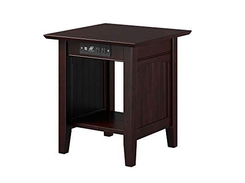 "Atlantic Furniture Nantucket Chair Side Table, End (20"" x 20""), Espresso"