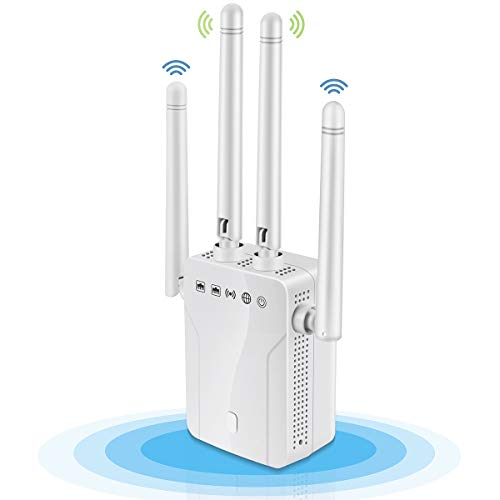 1200Mbps WiFi Range Extender, Dual Band 2.4G and 5G Signal Expander, 4 Antennas 360° Full Coverage, Wireless Signal Repeater Booster, Extend WiFi Signal to Smart Home (4 Antennas, White)