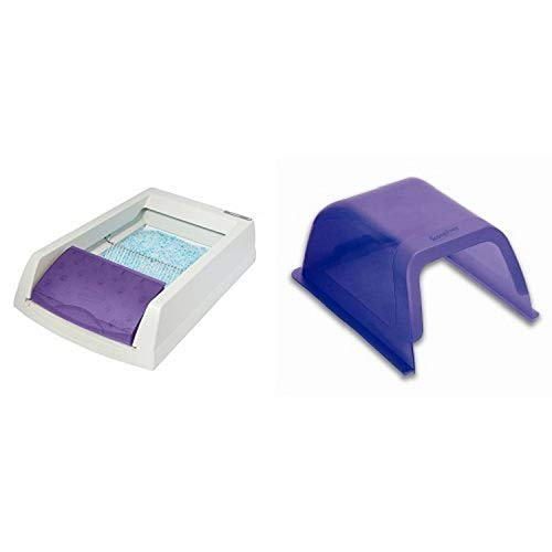 ScoopFree Self Cleaning Litter Box and ScoopFree Self Cleaning Litter Box Privacy Hood - Purple Bundle