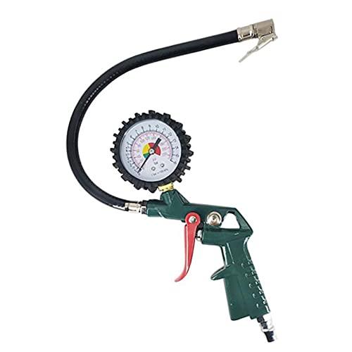 HWNGDI Gauge de presión de neumáticos 0-220PSI (0-16BAR) Mango de metal Inflador de neumáticos Inflador de presión para un testador de presión de neumáticos de camión Fácil de instalar
