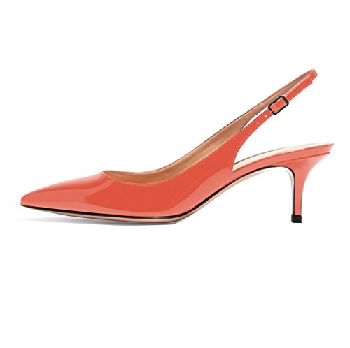 Sammitop Women's Slingback Pumps 65mm Court Shoes Sexy Fashion Patent Dress Shoes Orange US11