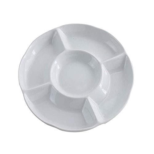 5 Compartimentos Bandeja de Frutas, Plato de Aperetivos, Sin BPA Blanca 5 Compartimentos Plástico Bandeja Dividida Para Frutas, Ensaladas, Postres, Sushi, Vegetales (10 Pulgadas)