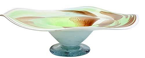Oberstdorfer Glashütte grote decoratieve schaal gekleurde glazen schaal ronde sierschaal groen beige wit gemarmerd met golvende rand mondgeblazen diameter ca. 35 cm, hoogte ca. 10 cm.